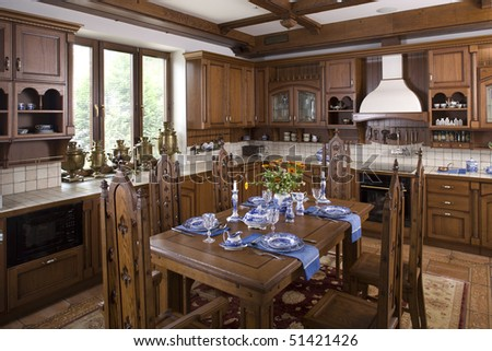 interior of a dinning room - stock photo