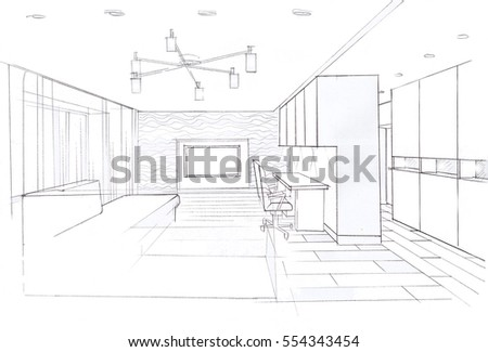 Interior Sketches Into Digital Color And Black Whitehand Drawing Modern Livingroom