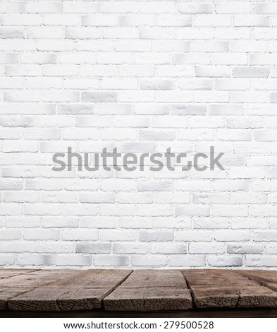 interior vintage with white brick wall and wood floor background - stock photo