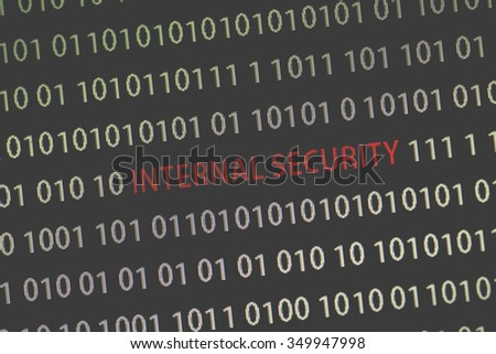 'Internal security' text in the middle of the computer screen surrounded by numbers zero and one. Image is taken in a small angle. Image has a vintage effect applied.