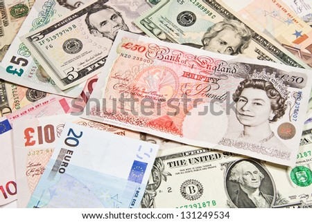 International currencies, Poland - z?, England - Pound, U.S. - dollar, Russia - Ruble, Switzerland - Frank, the European Union - Euro. - stock photo