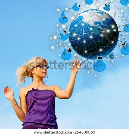 Internet technologies concept of global busines.Internet education