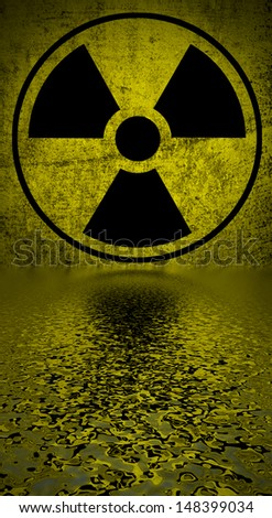 Ionizing radiation hazard symbol reflected in water surface. - stock photo