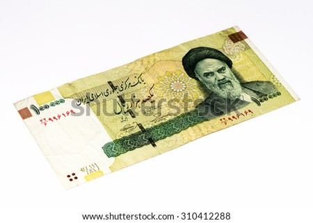 100000 Iranian rials bank note. Rial is the national currency of Iran