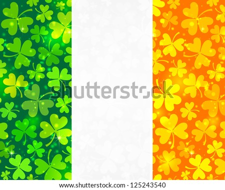 Irish flag background made from green and orange clovers. Vector version also exist. - stock photo