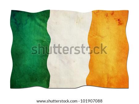 Irish Flag made of Paper - stock photo