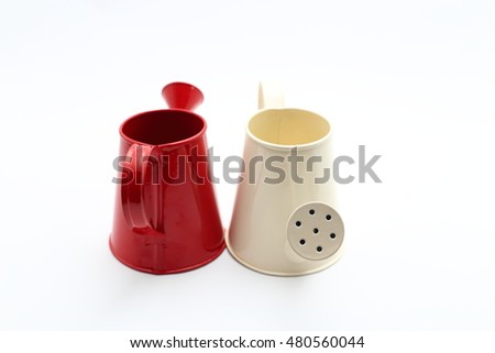 Iron Red and Cream Color watering on white background