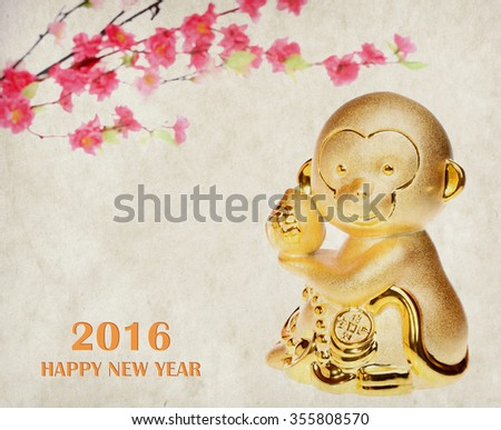 2016 is year of the monkey,Gold monkey  - stock photo