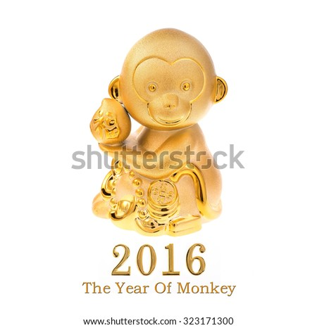 2016 is year of the monkey,Gold monkey,Chinese calligraphy translation:good bless for new year and earn more money - stock photo