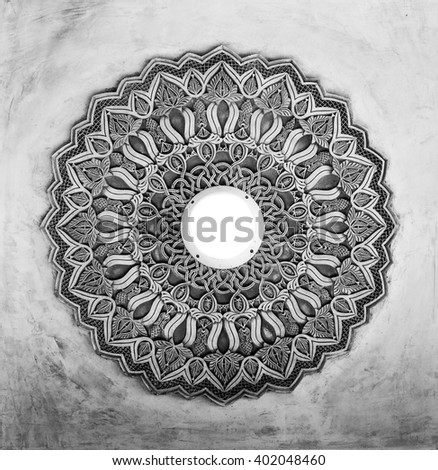 Islamic carvings on the ceiling - stock photo