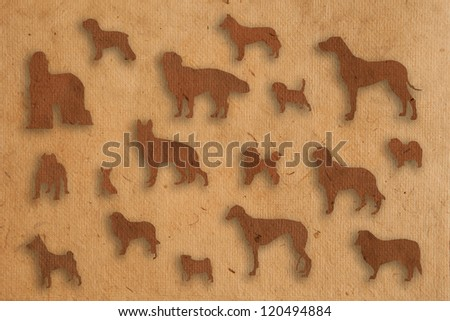 isolate dog paper texture style - stock photo