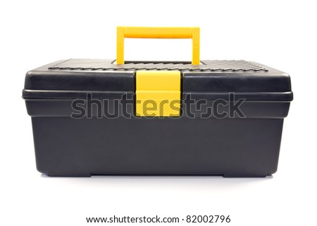isolated black toolbox used by the construction industry. - stock photo