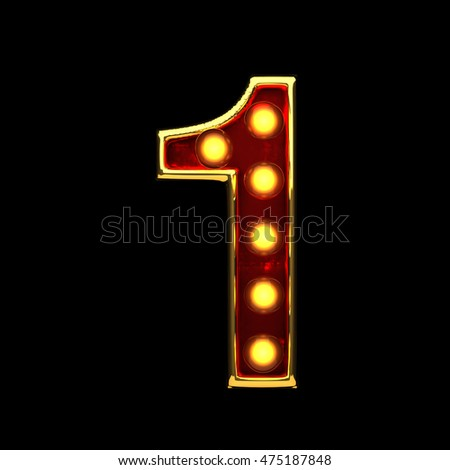1 isolated golden letter with lights on black. 3d illustration