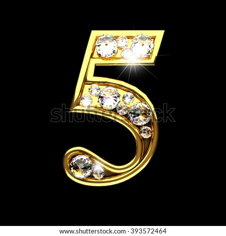 5 isolated golden letters with diamonds on black
