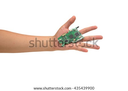 isolated Hand holding IC chip - stock photo