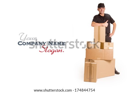 Isolated image of a messenger delivering a lot of boxes  - stock photo