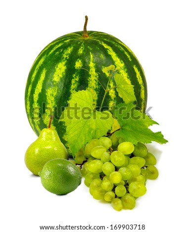 isolated  image of watermelon,pear, lemon, lime and grapes on a white background - stock photo
