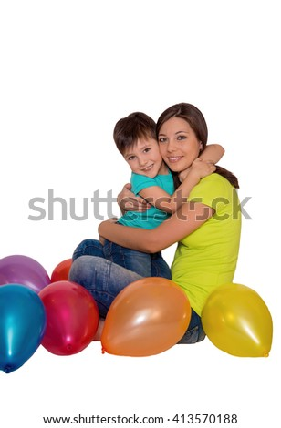 isolated , mother and child hugging - stock photo