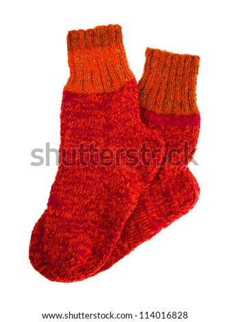 isolated on a white background two woolen socks - stock photo