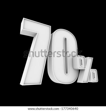 70% isolated on black - stock photo