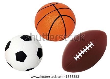 Isolated on White Soccer Basket and Foot Ball