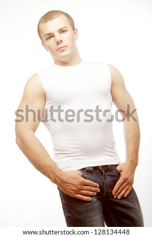 isolated portrait of a smiling muscular caucasian man