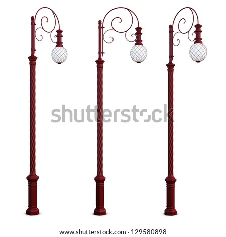 Isolated red lamppost on white. Streetlight, street lamp - stock photo