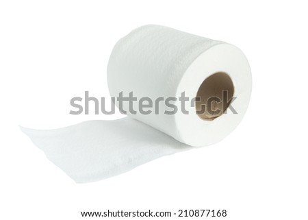 isolated roll of toilet paper on the white  background - stock photo