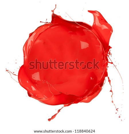 Isolated shot of red paint blob on white background - stock photo