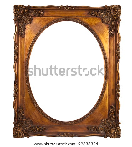 isolated with clipping path: Picture gold frame with a decorative pattern - stock photo