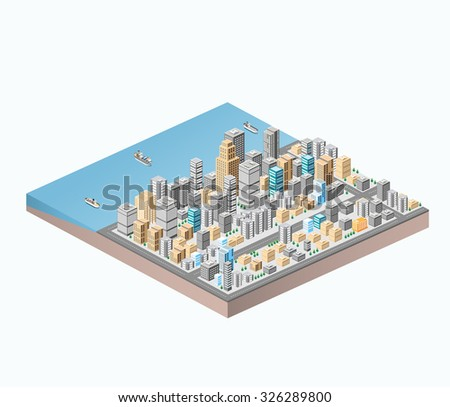 isometric city center on the map with a large number of buildings, skyscrapers, roads and sea coast - stock photo
