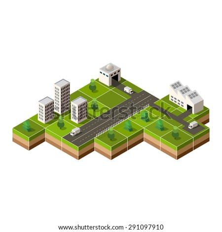 isometric city center on the map with lots of buildings, - stock photo