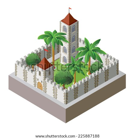 isometric fortress surrounded by a wall with a garden - stock photo