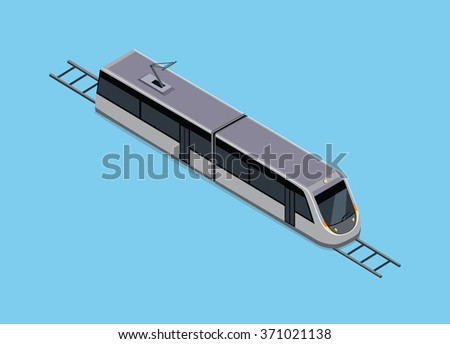 isometric of subway train. Vehicles designed to carry large numbers of passengers. High speed inter-city commuter train. Isometric train.  public electric transport. Isometric transport. Raster - stock photo