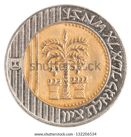 10 Israeli New Sheqel coin isolated on white background - stock photo