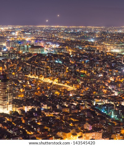 Istanbul at night .View from Sapphire skyscraper. - stock photo