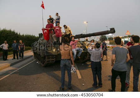 16/17/2016, Istanbul, Turkey, AKP supporters are cheering after the failure of military coupe attempt in Turkey. - stock photo