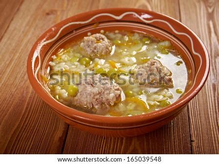 Italian meatball soup and  StellinÃ?Â??  pasta   . Baby menu - stock photo