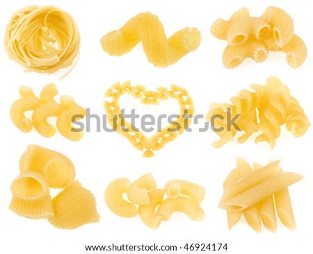 Italian pasta collection set isolated on white background