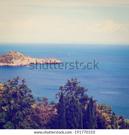 Italian Seascape with Hills and Indented Coastline, Instagram Effect - stock photo