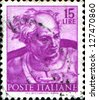 ITALY - CIRCA 1961: A stamp printed in Italy, shows designs of Michelangelo's Sistine Chapel, Joel, circa 1961 - stock photo