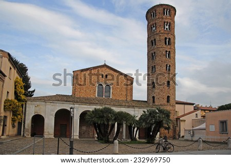 _ Italy, Ravenna, Basilica of New Saint Apollinare with the round bell tower.  - stock photo