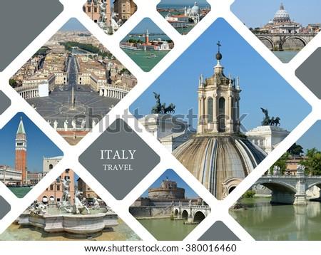 Italy. Venice and Rome. Tourist landmarks. Travel concept - stock photo
