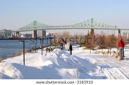 """Jacques Cartier"" Bridge, Saint Lawrence River, Dog Sled - stock photo"