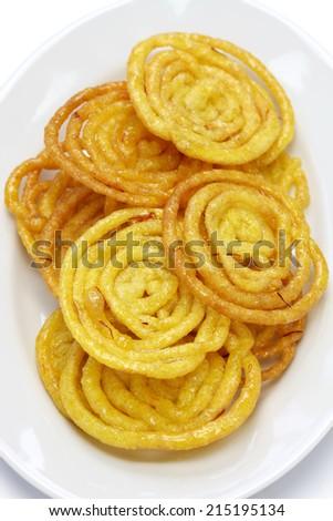 jalebi indian sweet isolated on white background  - stock photo