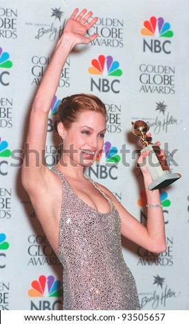 "24JAN99:  Actress ANGELINA JOLIE at the Golden Globe Awards in Beverly Hills. She won Best Actress in a TV mini-series or Movie for ""Gia"".  Paul Smith/Featureflash - stock photo"