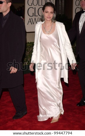 """23JAN2000:  Actress ANGELINA JOLIE at the Golden Globe Awards where she won for Best Supporting Actress in a Movie for """"Girl, Interrupted.""""  Jean Cummings/Paul Smith / Featureflash - stock photo"""