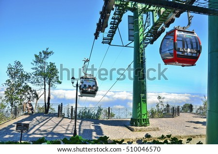 8 Jan 2014 at Ba Na Hills in Danang Vietnam, Cable car opened to the public in March of 2009