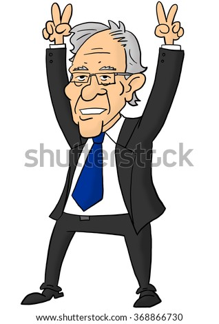 28 January, 2016: Bernie Sanders holding fingers in victory signs - stock photo