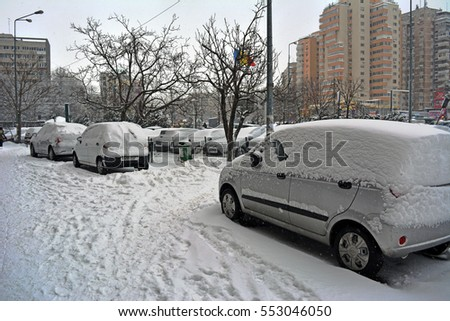 06 January 2017- Bucharest,Romania. The first day of snow on a street in downtown center in the Lujerului district.